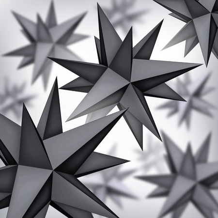 Volume polyhedron black stars, 3d blurred objects, geometry shapes, mesh version, dark origami crystals, abstract vector elements background Vectores