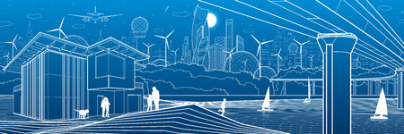 Futuristic City. Urban life. Town infrastructure. Industrial illustration. Large bridge. People on river bank. Modern houses. Airplane fly. White lines, blue background. Vector design art Illusztráció