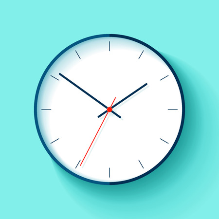 Clock icon in a flat style, round timer on a blue background. Simple business watch. Vector design element for you project