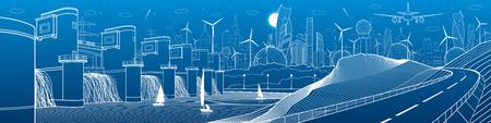 Panorama dell'illustrazione industriale ed energetica delle infrastrutture della città. Centrale idroelettrica. Diga sul fiume. Strada automobilistica in montagna. Linee bianche su sfondo blu. Arte di disegno vettoriale