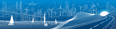 City infrastructure industrial illustration panorama. Large cable-stayed bridge across the river. Automobile road in mountains. White lines on blue background. Vector design art Ilustração