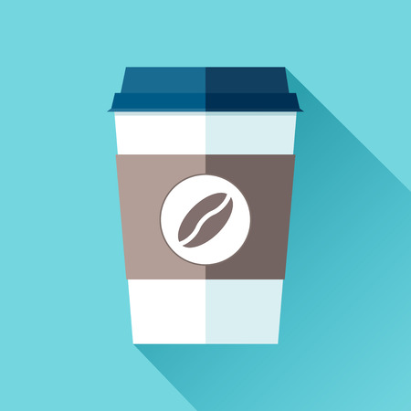 Plastic coffee cup in a flat style on a blue background. Drink with you. Simple object. Vector design element for your project Ilustração