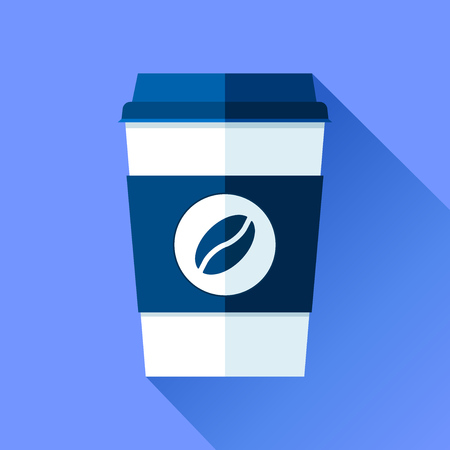 Coffee cup in a flat style on a blue background. Drink with you. Simple object. Vector design element for your business project Ilustração