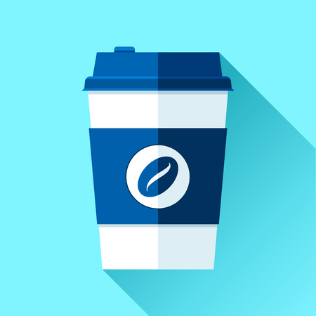 Coffee cup in a flat style on color background. Drink with you. Simple object. Vector design element for your business project Ilustração