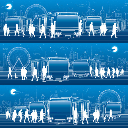 Transportation panoramic set. Passengers enter and exit to the bus. People at the station. Town transport infrastructure. Night city at background, vector design art
