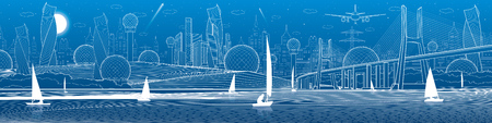 City infrastructure panoramic illustration. Big bridge across river. Sailing yachts on water. White lines on blue background. Vector design art Vetores