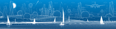 Futuristic City infrastructure panoramic illustration. Airplane fly. Night town at background. Sailing yachts on water. White lines. Vector design art