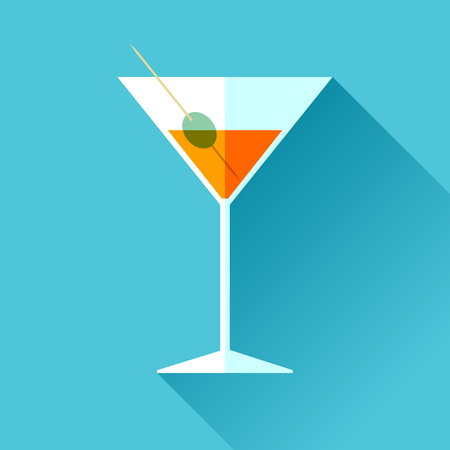 Glass for vermouth icon in a flat style, wineglass on color background. Alcohol cocktail. Vector design elements for you business project Vettoriali