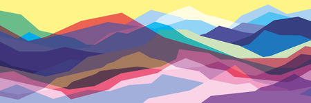 Color mountains, translucent waves, abstract glass shapes, modern background, vector design Illustration for you project Vecteurs