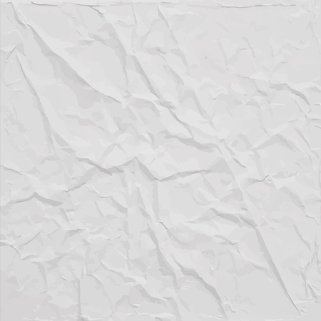 White wrinkled paper texture, abstract vector background