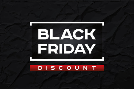 Black Friday Discount. Dark wrinkled paper texture, abstract black background. Red accent. Vector design for you business selling projects