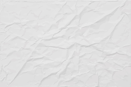 White wrinkled paper texture, abstract light vector background Vector Illustration