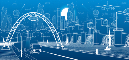 City infrastructure industrial and energy illustration. Hydro power plant. River Dam. Automobile road. Car move on Illuminated highway. Big bridge. White lines on blue background. Vector design art Vettoriali