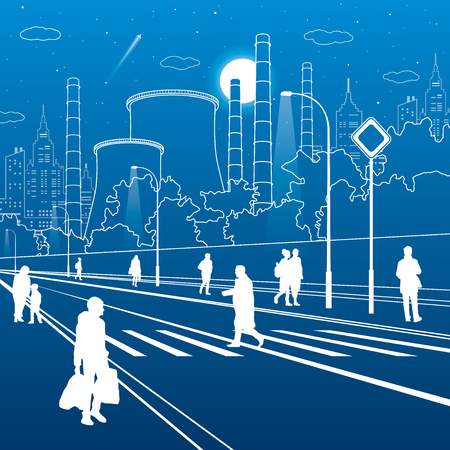 Infrastructure and urban illustration. People walking at the street. Illuminated highway. Factory thermal power plant. Modern night city. White lines on blue background. Vector design art