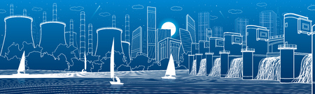 Urban City Infrastructure panoramic. Hydroelectric power station at river. Modern town. Factory thermal power plant. Yachts on the water. White lines on blue background. Vector design art