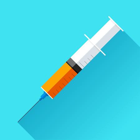 Medical syringe with medicine on color background. Vector design element Illustration