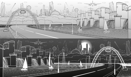 City infrastructure industrial and energy illustration panorama. Hydro power plant. River Dam. Large automobile bridge. Gray and white lines on light and dark background. Vector design art