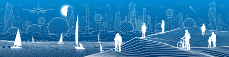 City infrastructure illustration. Yachts sail on the sea. People walking at shore. Modern city. Urban Panoramic. White lines on blue background. Vector design art