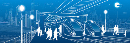 Two trains at the station. Passengers make a landing in transport. Urban infrastructure illustration. Vector design art Illusztráció