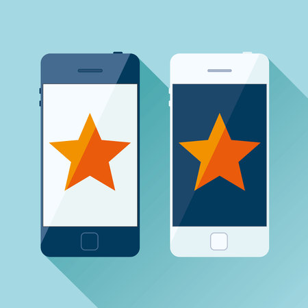 Light and dark Smartphone in a flat style, phone icon on color background. Orange star on display. Vector design object for you project Ilustrace