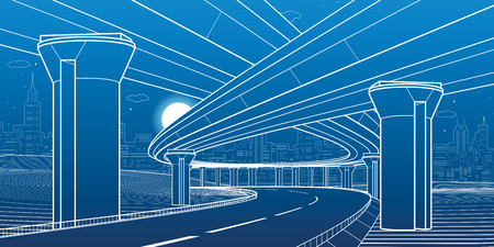 City architecture and infrastructure illustration, automotive overpass, big bridges, urban scene. Night town. White lines on blue background. Vector design art Illusztráció