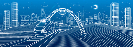 Train under the bridge. Modern night town, neon city. Infrastructure illustration, urban scene. White lines on blue background. Vector design art