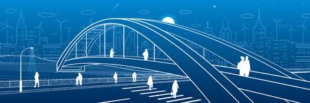Pedestrian bridge over the highway. People walking on city street. Modern night town. Infrastructure illustration, urban scene. White lines on blue background. Vector design art