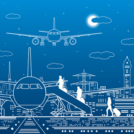 Airport illustration. Passengers go to the airplane. Aviation travel transportation infrastructure. The plane is on the runway. Night city on background, vector design art Illusztráció