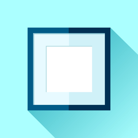 Simple squre frame in flat style. Blue frame on color background. Vector design object Illustration
