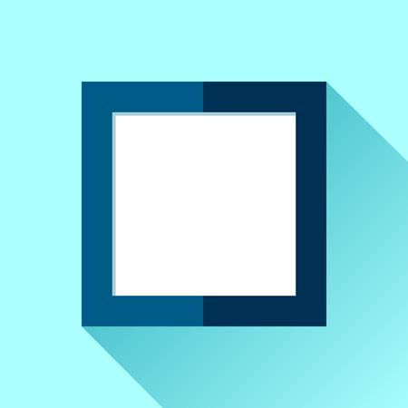 Simple squre frame in flat style. Blue frame on color background. Vector design object Illustration