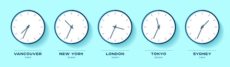 Tempo del mondo. Icone semplici dell'orologio in stile piano. Vancouver, New York, Londra, Tokyo, Sydney. Guarda su sfondo colorato. Illustrazione di affari per la tua presentazione. Oggetti di disegno vettoriale.