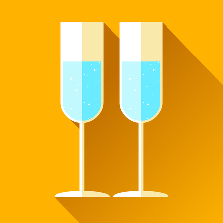 Wineglass on color background. Holiday alcohol drink. Vector design elements for you business project