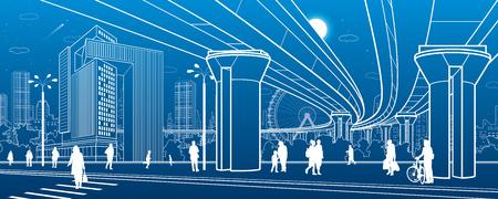 Business Center, city architecture. People walking at town street. Road crosswalk. Road bridge, overpass. Urban life. Vector design art Ilustração