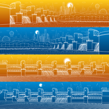 City infrastructure industrial illustration panorama set. Hydro power plant. River Dam. Energy station. Water power. Urban scene. White lines on blue and orange background. Vector design art  イラスト・ベクター素材