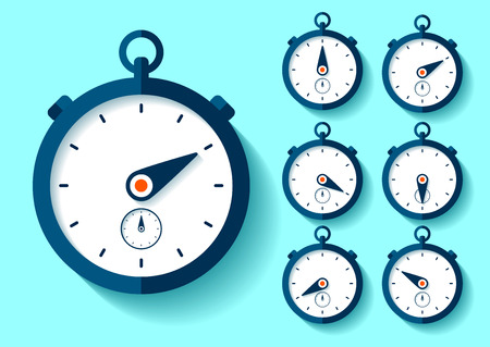 Stopwatch icon set in flat style. Sport clock. Time tool. Vector design element for you business project Ilustração