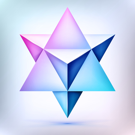 3d Merkaba, esoteric crystal, sacral geometry shape, volume star, mesh shape, abstract vector object