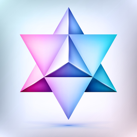 Merkaba 3d polyhedron, esoteric crystal, sacral geometry shape, star shape, mesh shape, abstract vector object Çizim