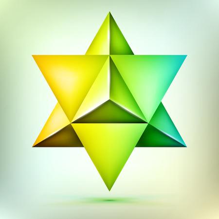 Merkaba 3d polyhedron, esoteric bronze crystal, sacral geometry shape, mesh shape, abstract vector