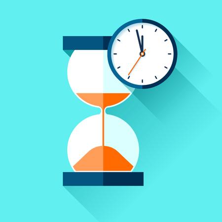 Hourglass and sandglass timer on color background. Vector design elements for you project Ilustração