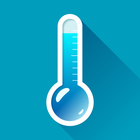 Thermometer in flat style on color background. Very cold temperature. Vector design object for you project Stock Illustratie