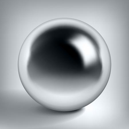 Vector chrome sphere, glossy metal ball Illustration