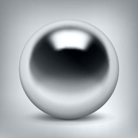 Vector chrome sphere, glossy metal ball 向量圖像