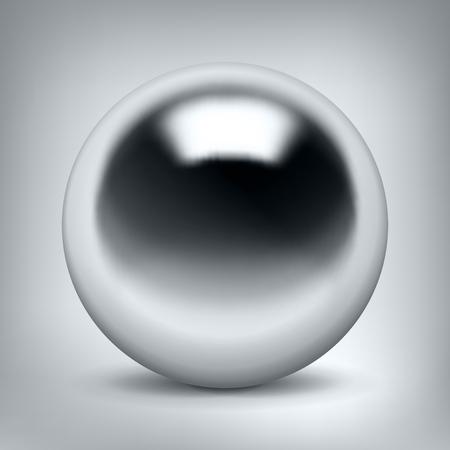 Vector chrome sphere, glossy metal ball
