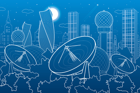 Weather station, radar installations, night city, urban scene, vector design art