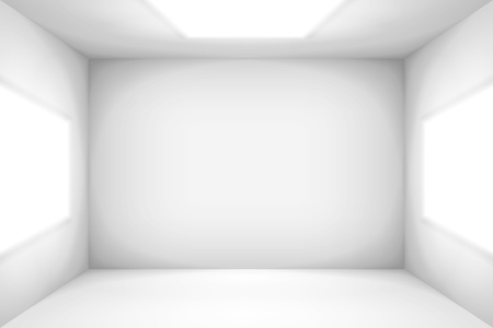 Empty white room. The inner space of the light box. Vector design illustration. Mock up for you business project