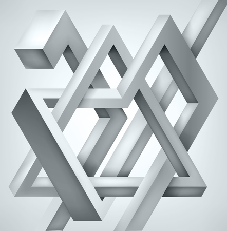 3D Twisted Composition of abstract forms. Shapes puzzle. Vector unreal construction