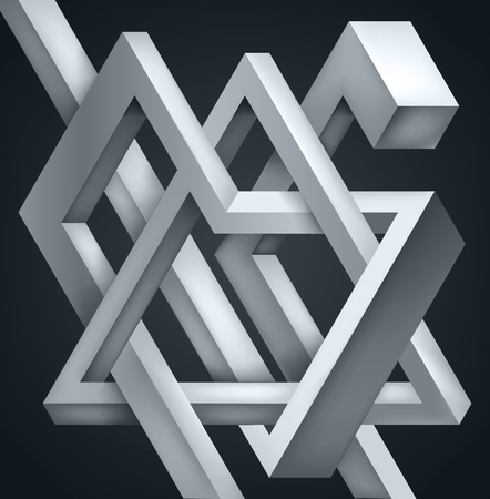 3D Twisted Composition of abstract forms. Shapes puzzle. Vector unreal construction on dark background