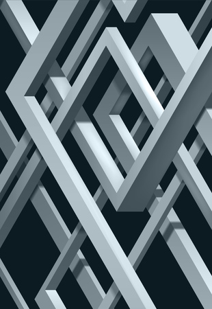 3D Twisted Composition of abstract plexus forms. Labyrinth shapes. Vector unreal construction on dark background Ilustração