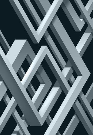 3D Twisted Composition of abstract plexus forms. Labyrinth shapes. Vector unreal construction on dark background  イラスト・ベクター素材