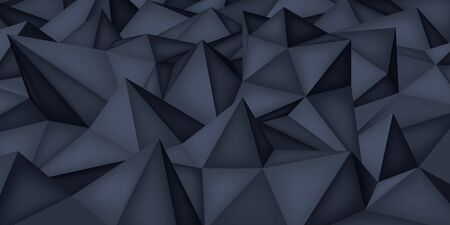 Low polygon shapes, dark background, black crystals, triangles mosaic, creative origami wallpaper, templates vector design  イラスト・ベクター素材